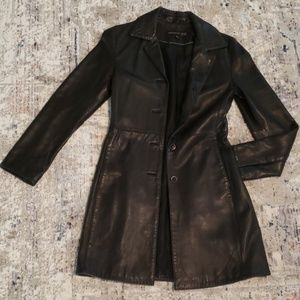 Kenneth Cole black leather trench coat/duster